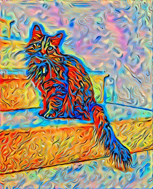 A style transfer of a cat with an artistic oil painting